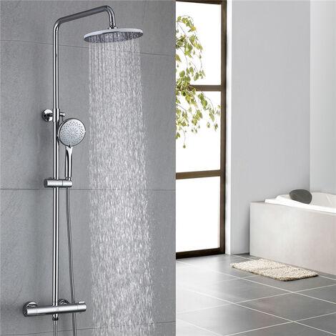 Thermostat Duschsystem Duscharmatur Chrom Duschset Regendusche Rainshower Dusche inkl. Verstellbar Handbrause Regenbrause Duschstange