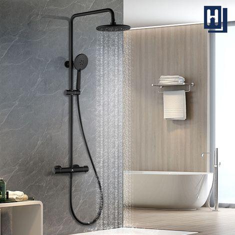 Thermostat Duschsystem Duschsäule Schwarz Duscharmatur Duschset Regendusche Duschgarnitur inkl. verstellbar Duschstange Duschpaneele mit Überkopfbrause und Handbrause