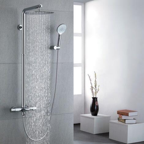 Thermostat Duschsystem Regendusche Duscharmatur mit Drei-Strahlen Handbrause inkl. Überkopfbrause Duschstange Armatur Duschset Dusche chrom