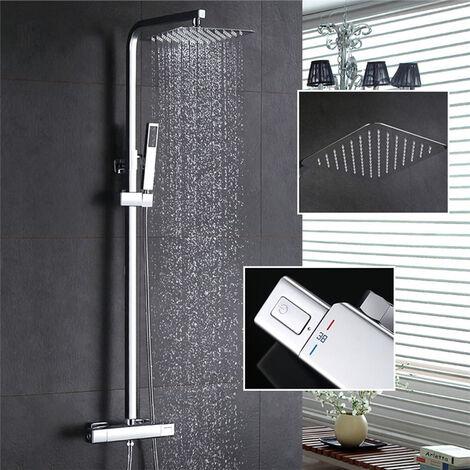 Thermostat Duschsystem Regendusche Eckig Duschpaneel Duscharmatur Duschset inkl. Überkopfbrause Handbrause Regenbrause