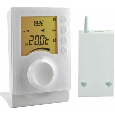 Thermostat elec radio a affichage digital et a molette pour chauffage, DELTA DORE, ref.6053002