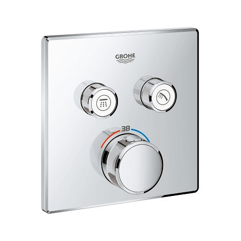 Thermostat Grohe Grohtherm SmartControl avec deux vannes d'arrêt, Coloris: acier super - 29124DC0