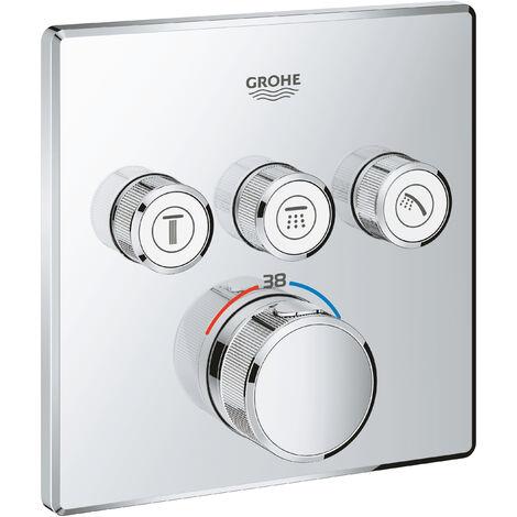 Thermostat Grohe Grohtherm SmartControl avec trois vannes d'arrêt, Coloris: acier super - 29126DC0