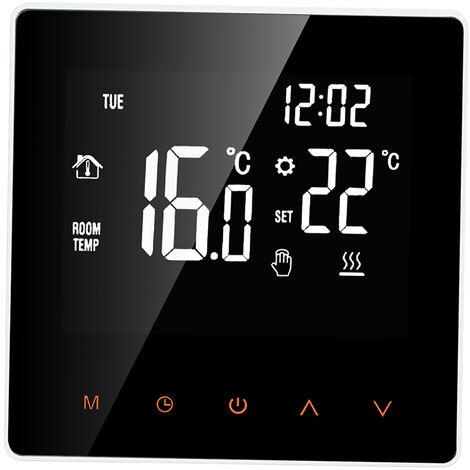 Thermostat intelligent eau / gaz Chaudiere numerique Regulateur de temperature ecran LCD tactile programmable Semaine Antigel Fonction de chauffe-eau Thermostat, Blanc, pas de WiFi