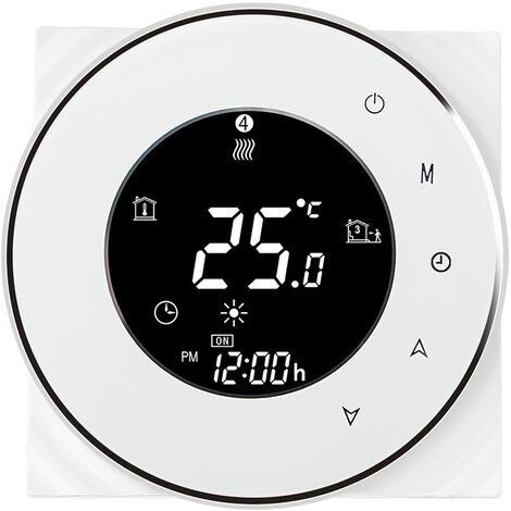 Thermostat intelligent WiFi pour chauffage chaudiere murale Systeme de chauffage chaudiere mural avec interrupteur reglable blanc