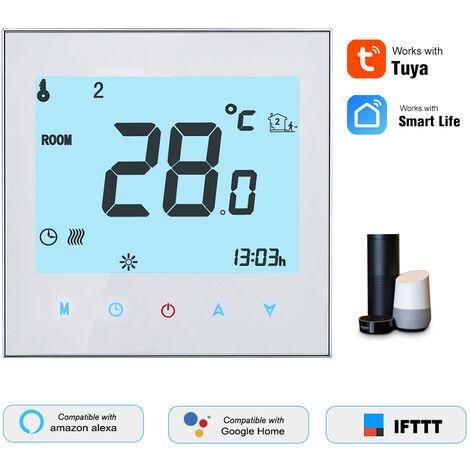 Thermostat intelligent WiFi pour chauffage de chaudiere murale Le systeme de chauffage de chaudiere mural peut controler le commutateur Fonction de programmation du retroeclairage Controle Tuya / SmartLife APP Courant: 3A Tension: AC95-240V Blanc