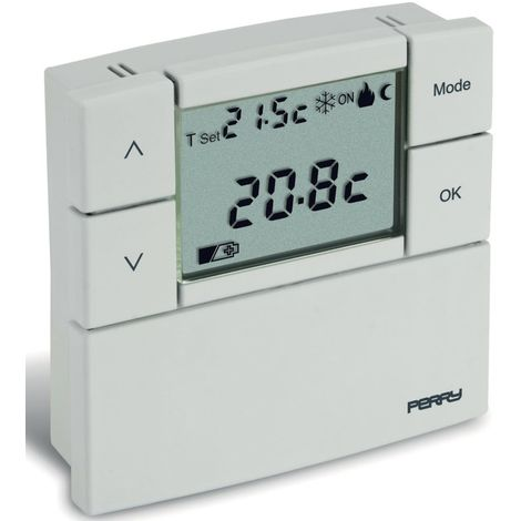 Thermostat mural blanc avec piles cm 8,4x2,3x8,4 Perry 1TPTE530B