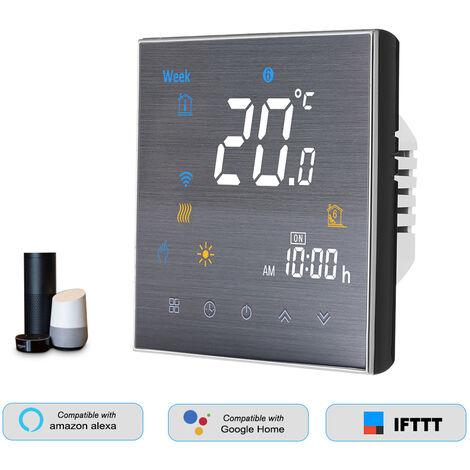 Thermostat, pour chauffage au sol, plage d'application 5A AC 95-240V noir WiFi smart