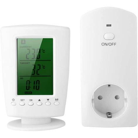 Thermostat programmable sans fil numérique, minuteur, interrupteur, prise, régulateur température, contrôle multicanal, mode de refroidissement, chauffage, rétroéclairage vert - Modèle européen