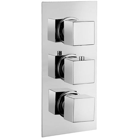 Thermostatic 3 Way Diverter Square Shower Valve with Square Handles