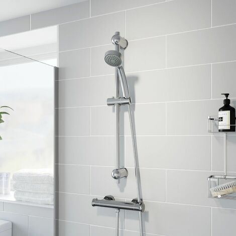 Thermostatic Bar Valve Shower Round Adjustable Head Wall Mounted Chrome