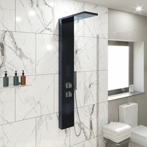 Thermostatic Bathroom Shower Panel Column Tower Twin Head Body Jets in Black