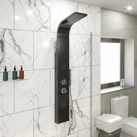 Thermostatic Brushed Black Finish Shower Tower Panel 2 Body Jets 2 Twin Heads