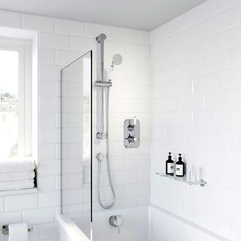 Thermostatic Concealed Lever Cross Shower Bath Filler Adjustable Head