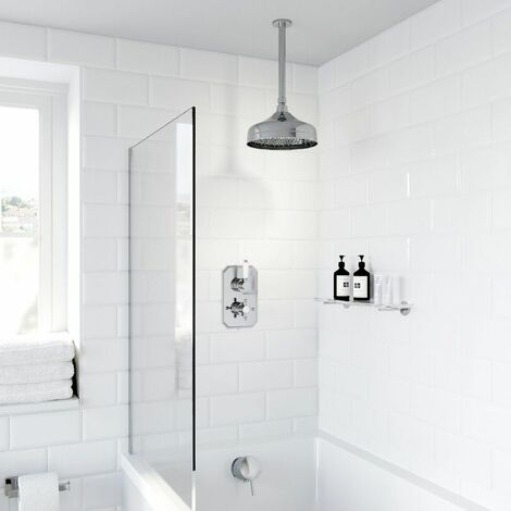 Thermostatic Concealed Lever Cross Shower Bath Filler Ceiling Mounted Fixed Head