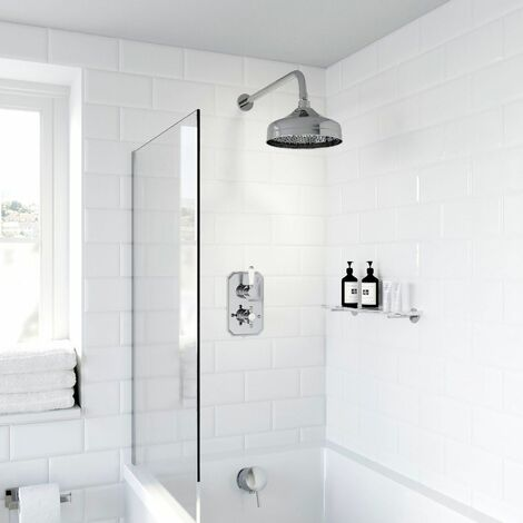 Thermostatic Concealed Lever Cross Shower Bath Filler Wall Mounted Fixed Head