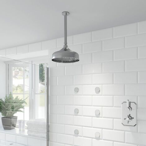 Thermostatic Concealed Lever Cross Shower Body Jets Ceiling Mounted Fixed Head