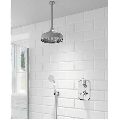 Thermostatic Concealed Lever Cross Shower Ceiling Mounted Handheld Shower Heads