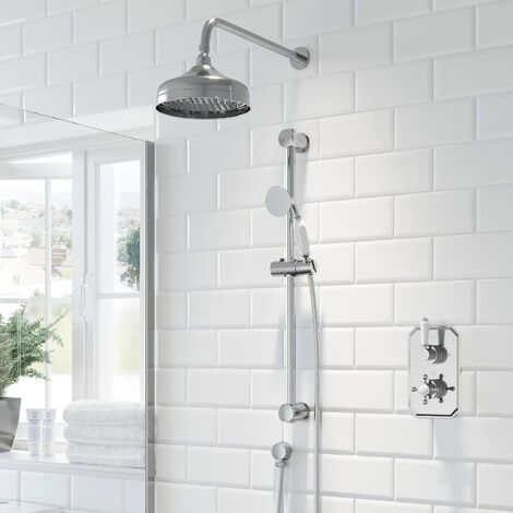 Thermostatic Concealed Lever Cross Shower Wall Mounted Adjustable Shower Heads