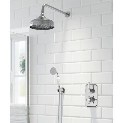 Thermostatic Concealed Lever Cross Shower Wall Mounted Head Handset