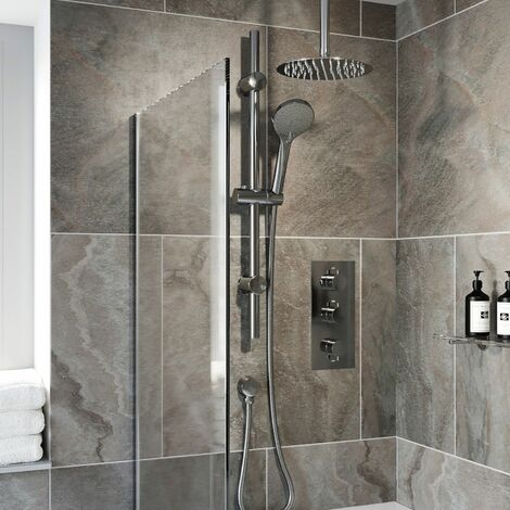 Thermostatic Concealed Round Shower Ceiling Mounted Adjustable Heads Bath Filler