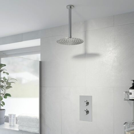 Thermostatic Concealed Round Shower Ceiling Mounted Drencher Shower Head Chrome