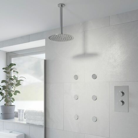 Thermostatic Concealed Round Shower Ceiling Mounted Fixed Head Body Jets
