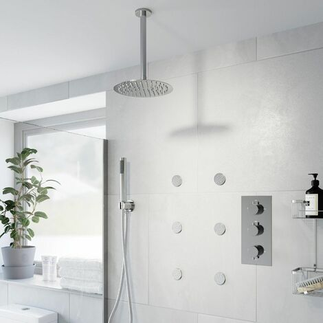 Thermostatic Concealed Round Shower Ceiling Mounted Handset Heads Body Jets