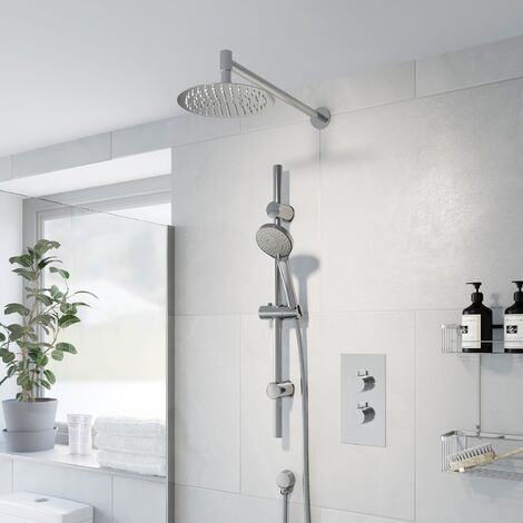 Thermostatic Concealed Round Shower Wall Mounted Adjustable Shower Head Chrome