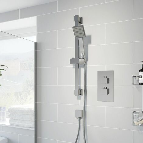Thermostatic Concealed Square Shower Adjustable Head Wall Mounted Chrome