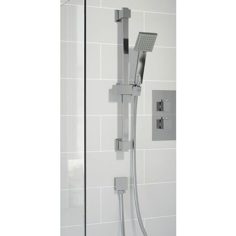 Thermostatic Concealed Square Shower Bath Filler Adjustable Head Chrome