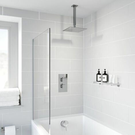 Thermostatic Concealed Square Shower Bath Filler Ceiling Mounted Fixed Head