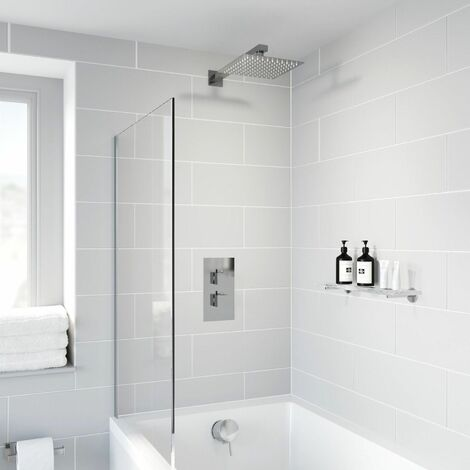 Thermostatic Concealed Square Shower Bath Filler Wall Mounted Fixed Head Chrome