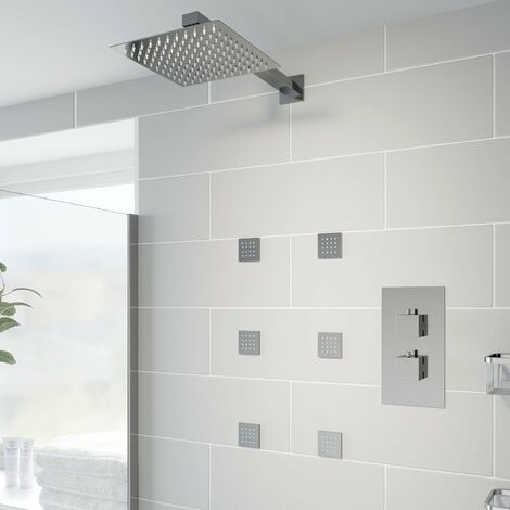 Thermostatic Concealed Square Shower Body Jets Wall Mounted Fixed Head Chrome