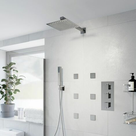 Thermostatic Concealed Square Shower Wall Mounted Handset Heads Body Jets