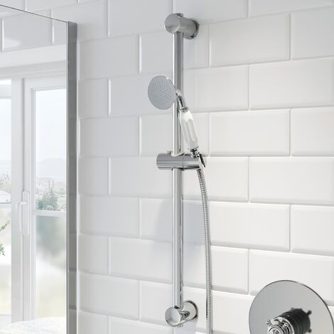 Thermostatic Concentric Concealed Shower Adjustable Head Chrome White