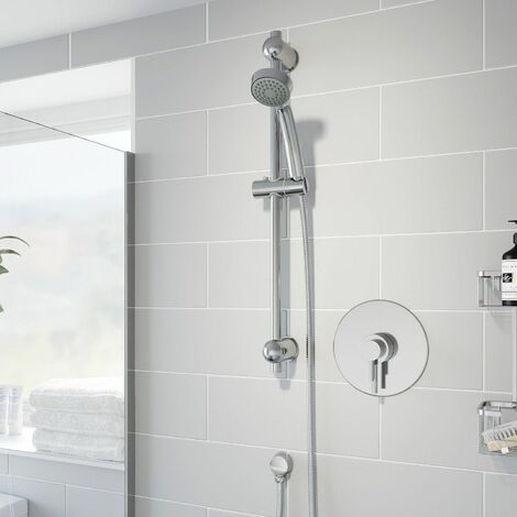 Thermostatic Concentric Concealed Shower Round Adjustable Head Riser Rail Chrome