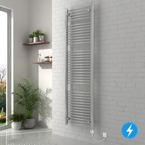 Thermostatic Electric Bathroom Curved Heated Towel Rail Radiator with Controller Chrome 1800x500 800W