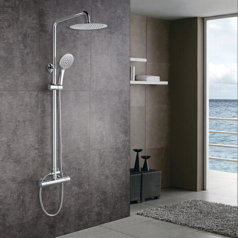 Thermostatic Exposed Shower Mixer Bathroom Twin Head Large Round Bar Set Chrome