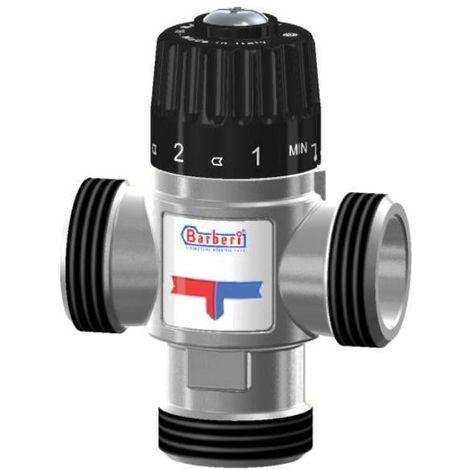 """Thermostatic Mixing Valve Mid Port Mixed Water 30-65C 2,3m3/h 1"""" Male BSP"""