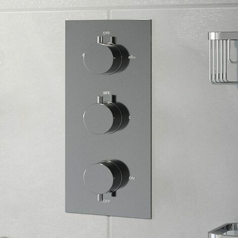 Thermostatic Round Control Concealed Shower Valve Triple Outlet Chrome Finish