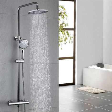 Thermostatic Shower Mixer 2-Way Shower Set with Rain Shower and Hand Held Shower 3-Function Wall-Mounted Shower System Adjustable Shower Bathroom Chrome