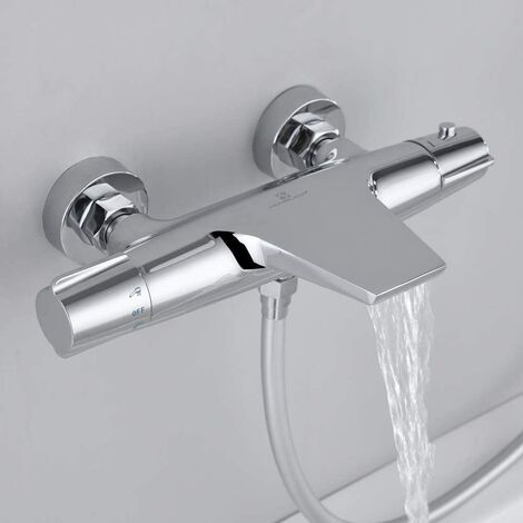 Thermostatic Shower Mixer Bar Modern Chrome for Bathroom Wall Mounted Brass Diverter Valve Anti Scald Tap