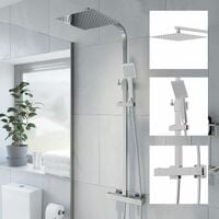 Thermostatic Shower Mixer Square Chrome Bathroom Twin Head Set