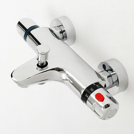 """main image of """"Thermostatic Shower Mixer Tap Bathroom Wall Valve Solid Chromed Brass"""""""