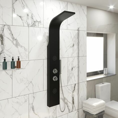 Thermostatic Shower Panel Column Tower Body Jets Twin Head Aluminium Black