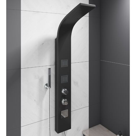 Thermostatic Shower Panel Column Tower Drencher Head Handset 3 Body Jets Black