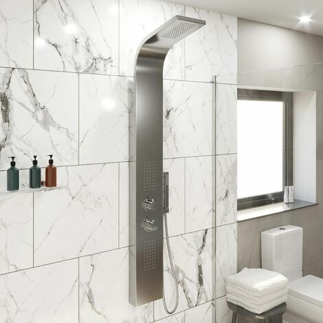 """main image of """"Thermostatic Shower Panel Column Tower With Body Jets Twin Head Bathroom Silver"""""""