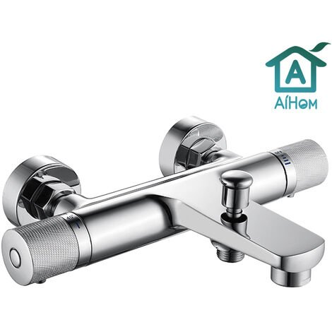 Thermostatic Shower Taps 38℃ Bath Shower Mixer Taps bar Shower Valve Modern Bathroom Waterfall Design Wall Mounted Chrome Plated Brass Body