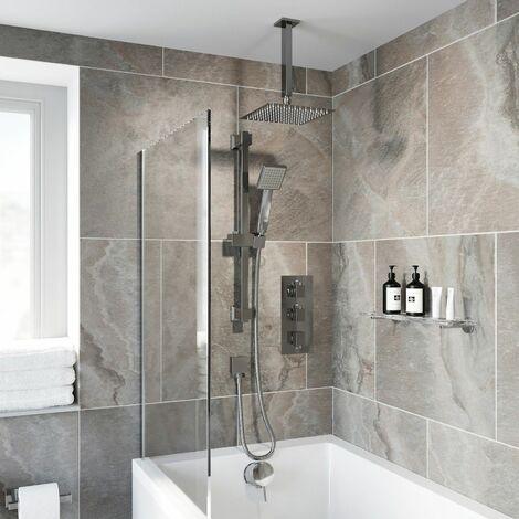 Thermostatic Square Concealed Shower Ceiling Mounted Adjustable Riser Handset